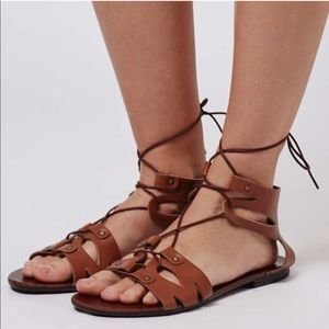 Topshop Hilt Lace-Up Sandal in Brown